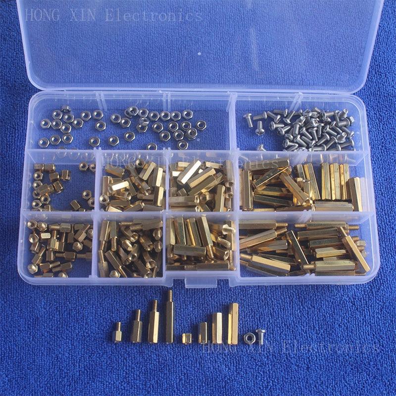 High Quality 300Pcs/M3 PCB Threaded Female Brass Standoff Spacer Board Hex Screws Nut Assortment kit set