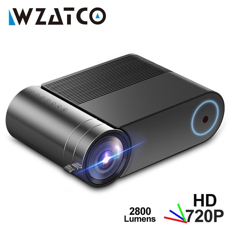 MINI Proyector WZATCO Y2 Android 9,0, 2800 lúmenes 1280x720P, Proyector LED HD portátil, Proyector Beamer 3D inteligente para cine en casa