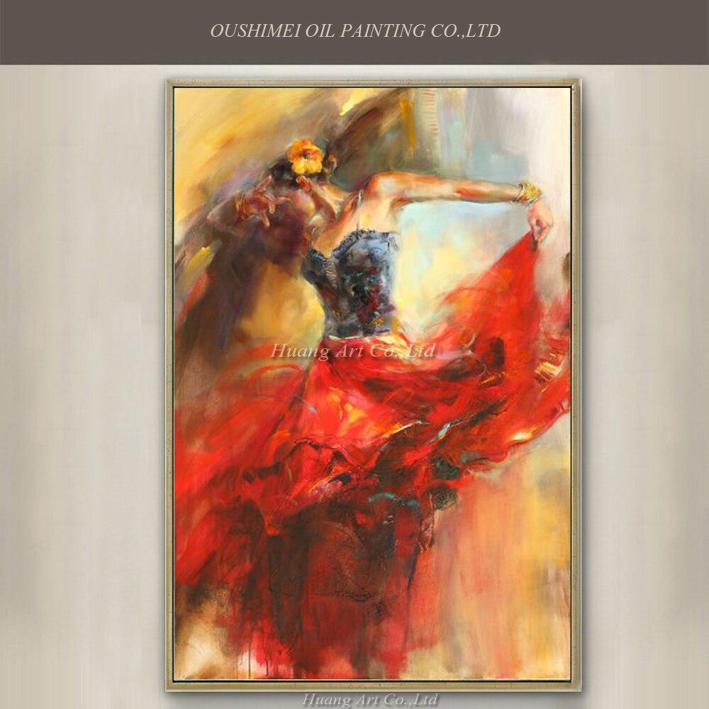 ARTISTA directamente profesional, suministro de alta calidad, pintura al óleo de bailarina española pintada a mano sobre lienzo, pintura al óleo de bailarina de Flamenco
