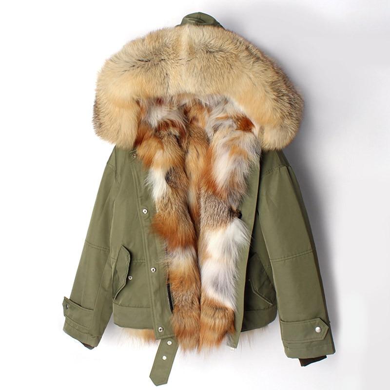2020 New Winter Jacket Women Coat Parka Short Real Silver Fox Fur Liner Raccoon Fur Collar Hood Detachable 3 In 1 Outerwear