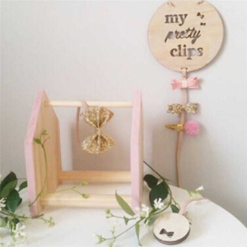 2019 de madeira do bebê clipes de cabelo estilo nórdico acessórios de cabelo fotos pingente de armazenamento de madeira redonda do bebê hairpin pingente de armazenamento