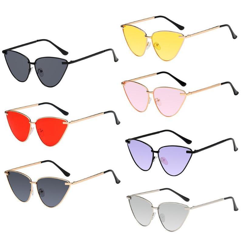 2018 gafas de sol simples para hombre/mujer, montura de Metal para ojo de gato, gafas de sol clásicas de mar, gafas de viaje casuales Punk para playa