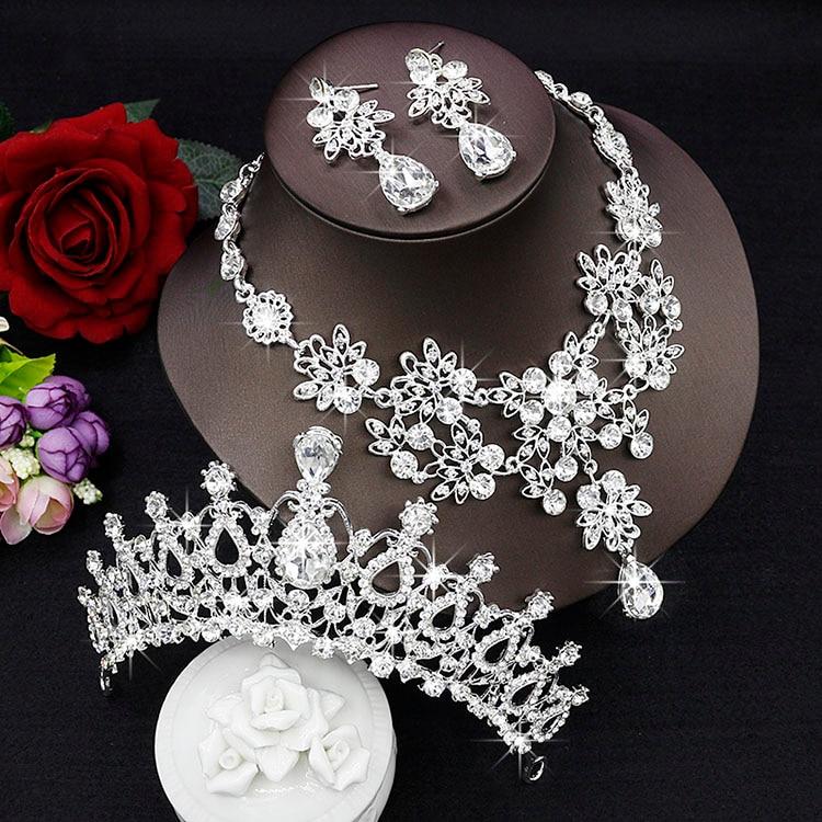 Cristal Conjunto De Joias de Noiva Gota de Lagrima Strass Luxuoso decoracao Bib Colar casamento Tiara
