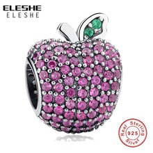ELESHE 925 perles en argent Sterling cristal rose clair CZ breloques de pomme ajustement Original Bracelet collier femmes Bijoux Bijoux cadeau