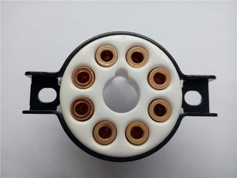 1 piezas de tubo de cerámica socket asiento grande CMC 8 pin de tubo de cerámica de oro pie para KT66 KT88 6SL7 6SN7 5AR4/GZ34 L34 EL37