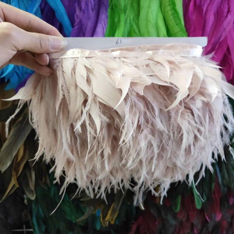 1 yardas champán Natural pavo y pluma de avestruz cinta 10-15 cm/4-6 pulgadas para vestido para Bodas/suministros de decoración artesanal