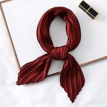 Модный женский Шелковый плиссированный шарф, роскошные однотонные шарфы для шеи, женские шарфы, шарфы для волос, женский платок, новинка 2020