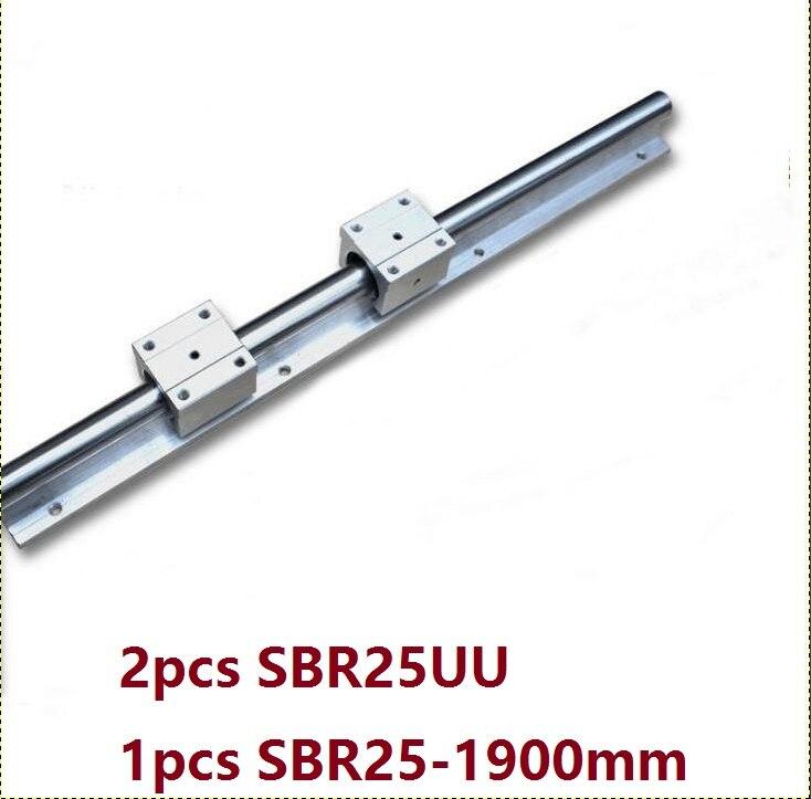 1 قطعة SBR25 - 1900 مللي متر خطي السكك الحديدية دعم دليل + 2 قطعة SBR25UU خطية تحمل كتل