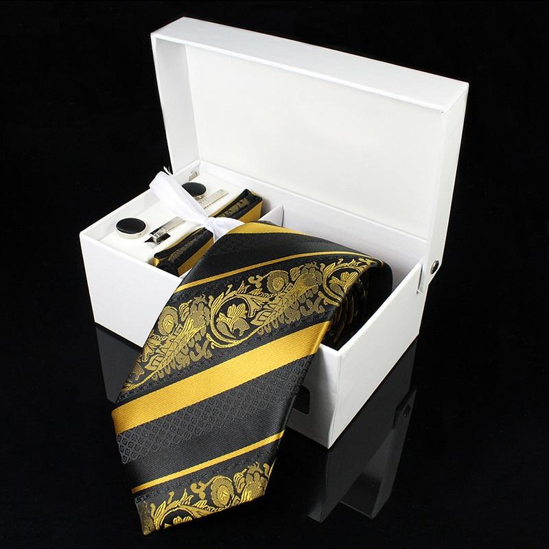 KAMBERFT-cravate tissée en soie Paisley   Cravates de luxe pour hommes, mouchoir, boutons de manchette et clips, coffret cadeau, fête de mariage