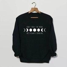 Sugarbaby Don't Trust The Moon Sweatshirt in Black Space Sweatshirt Moon Phase Shirt Grunge Clothing 90s Grunge Tumblr Tops