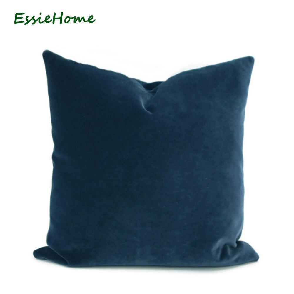 Funda de almohada ESSIE HOME de lujo azul marino azul oscuro medianoche funda azul para funda de almohada cojín para zona lumbar de terciopelo