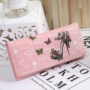 Women Long Wallet Butterfly High Heel Shoes Printed PU Leather Purse FA$3