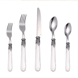 Cathylin conjuntos de talheres de 20 peças alça acrílica faca de aço inoxidável colher garfo talheres casamento restaurante louça conjunto pl0015
