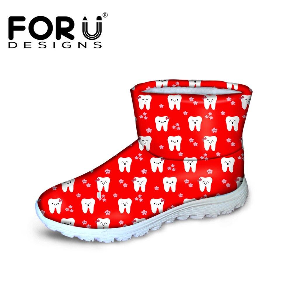 FORUDESIGNS 2018 botas de nieve de marca de lujo para mujer Casual patrón de dibujos animados lindos dentista botas de tobillo para mujer zapatos de moda para mujer