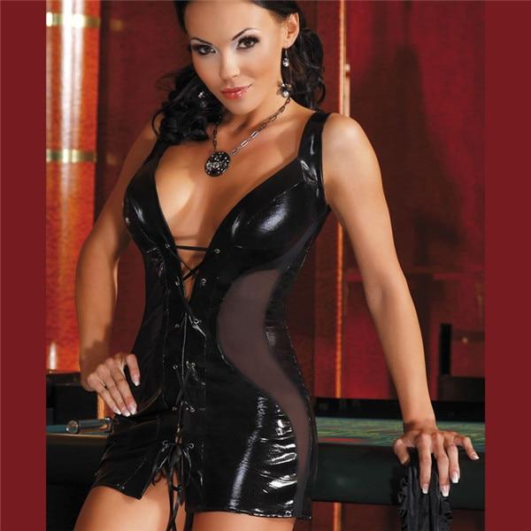Adjustable Faux Leather Black Sexy Party Club Dress Gothic Bandage Dress Slim Bodycon Clubwear PU Catsuit Dress Patchwork Mesh