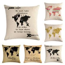 Pillow Case 45x45cm Map Of The World  Pillow Cases Linen Cotton Sofa Cushion Cover Home Decor