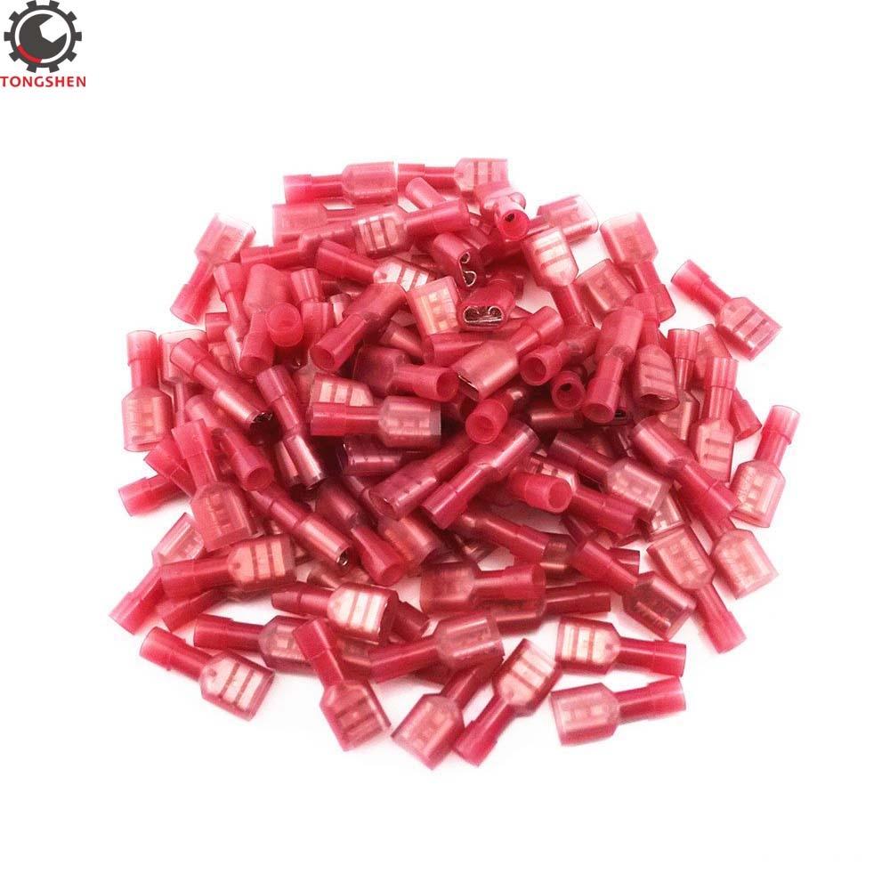 60 piezas rojo 22-calibre 16 Electrica de Nylon totalmente aislado hembra de...