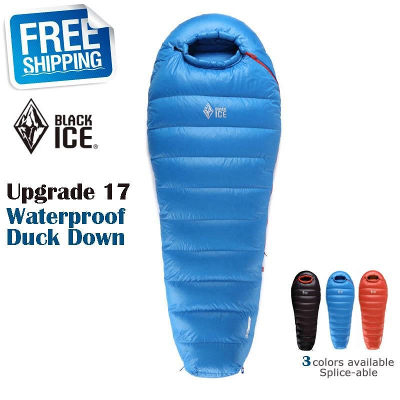 Blackice Upgrade B1000 Mummy Black/Orange/Blue Splicing Ultra-light Winter Outdoor Down Sleeping Bag with Carrying Bag