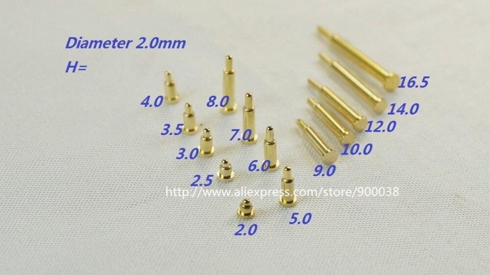 Conector de muelle pin pogo de 100 Uds., diámetro 2,0mm, altura 2,0 2,5 3,0 3,5 4,0 5,0 6,0 7,0 8,0 9,0 10,0 12,0 14,0 16,0 18,0mm SMD