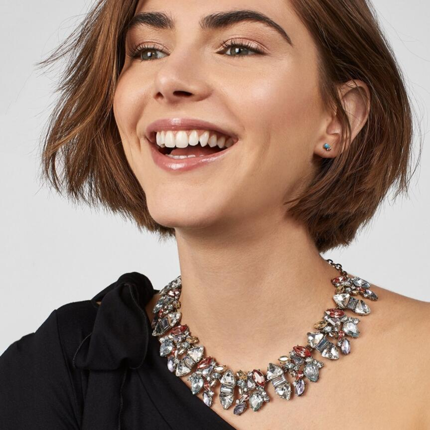 Collar gargantilla de cristal austriaco, joyería ZA para mujer, collar de estrás en capas para mujer, cuello grande étnico bohemio, Maxi collar de novia para boda
