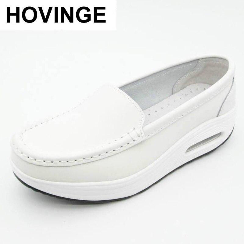 HOVINGE-zapatos de piel auténtica para mujer, calzado de trabajo de enfermera, con...