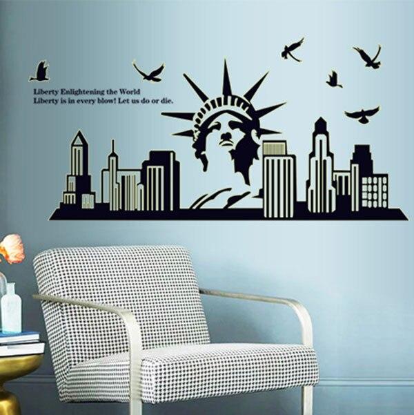 Нью-Йорк силуэт Статуя Свободы фон Популярные флуоресцентные светящиеся настенные стикеры украшения гостиной RT99
