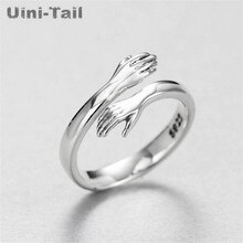 Uini-Staart Hot Nieuwe 925 Sterling Zilveren Europese En Amerikaanse Sieraden Liefde Knuffel Ring Retro Mode Tij Flow Open ring GN601