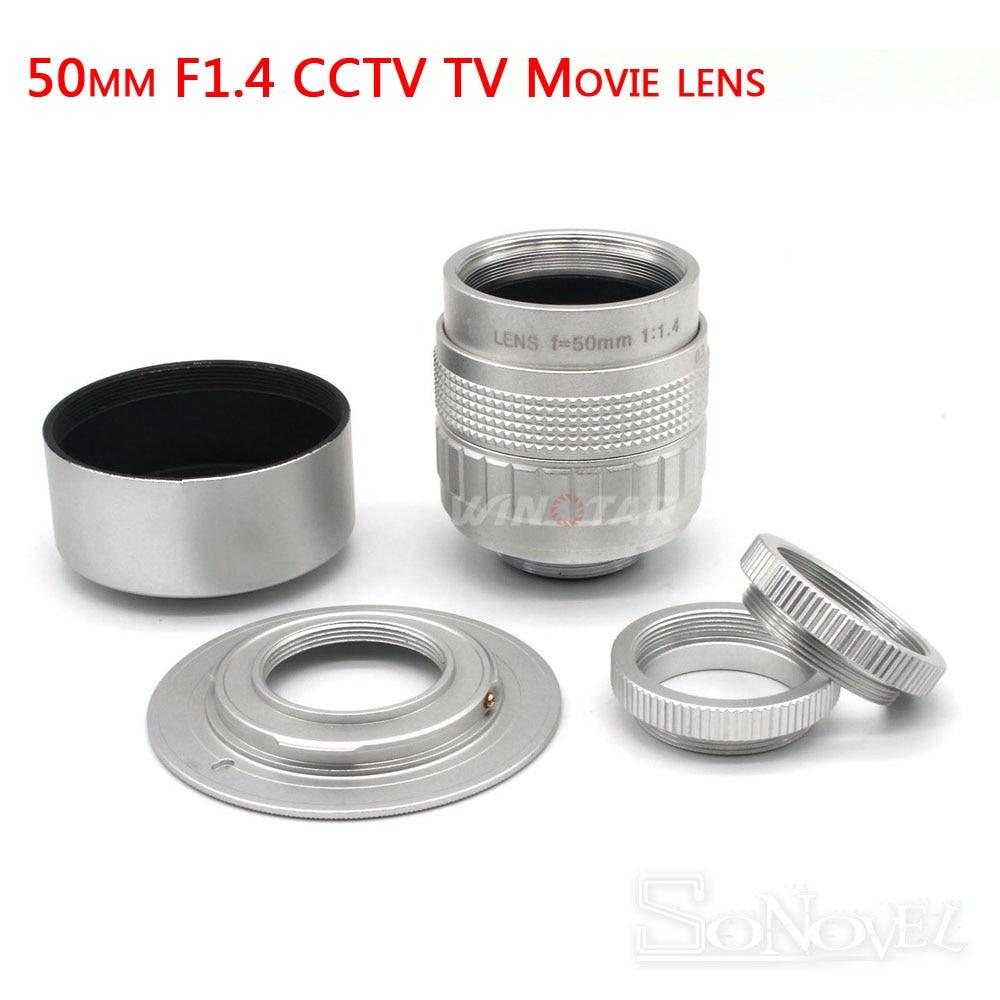 Silver Fujian 50mm F1.4 CCTV TV Movie lens+C-NEX Mount for SONY E Mount NEX3 NEX6 NEX5 NEX7 A6500 A6300 A6000 A6100 A5000 A3500
