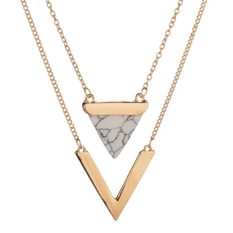 Женское Ожерелье MissCyCy, золотого цвета, в стиле панк, из Индии, с геометрическим рисунком, искусственный мраморный камень, винтажное украшение