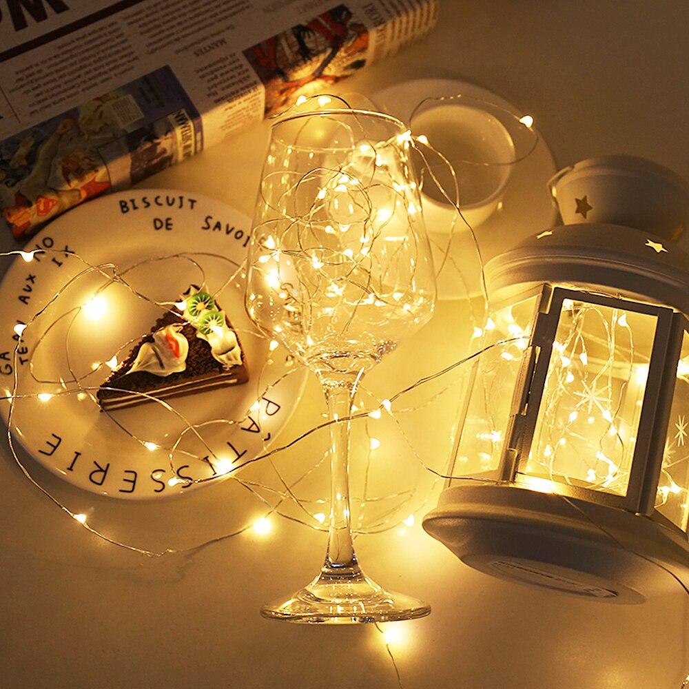 2M, 5M, 10M, alambre de cobre LED para cocina debajo del armario, luz, armario, muebles, dormitorio, iluminación para lámpara de decoración navideña