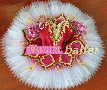 red professional tutu flower fairy tutu ballet cosutmes girls tutu pancake ballet stage cosutmesSB0055