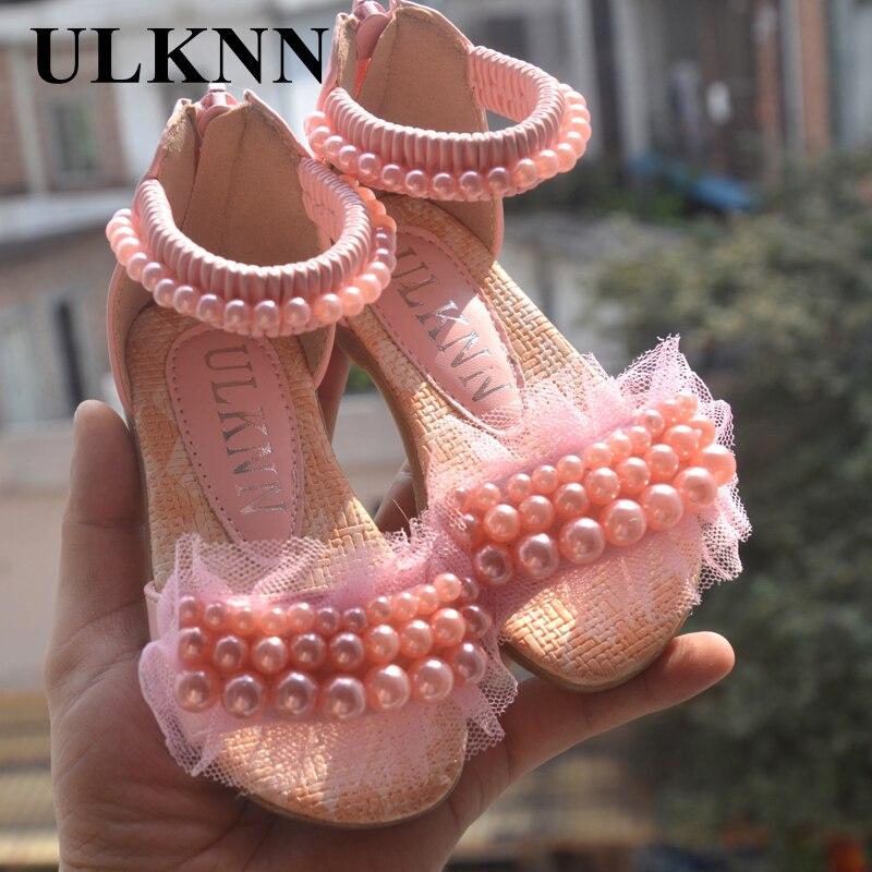 Ulknn 핑크 화이트 어린이 신발 여자 공주 신발 패션 여자 샌들 키즈 디자이너 단일 신발 여름 새 여자 샌들