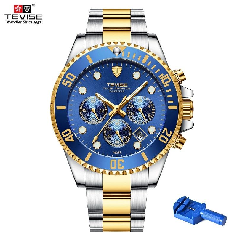 Quarz Armbanduhren TEVISE Männer Uhr T823S Woche Datum Luminous Armbanduhr Mens Rotierenden Ring Uhr Männlichen Wasserdicht Mit Fix Tool