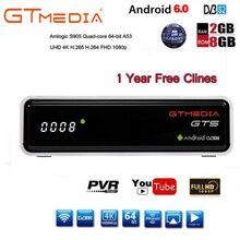 Freesat GTmedia GTS Android 6.0 4K Smart TV BOX Amlogic S905D Combo DVB-S2 Satellite Receiver 2G/8GB BT4.0 Set top box cccam m3u
