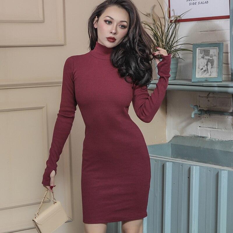 2018 primavera esencial espesar vestido de tela cálida con rosca de algodón estiramiento diseño simple Slim High Rise vestido con las tapas de los dedos