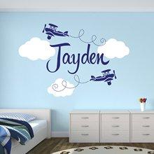 Autocollant personnalisé nom de nuages   Étiquette décorative pour chambre denfant, décoration murale en vinyle pour chambre denfants