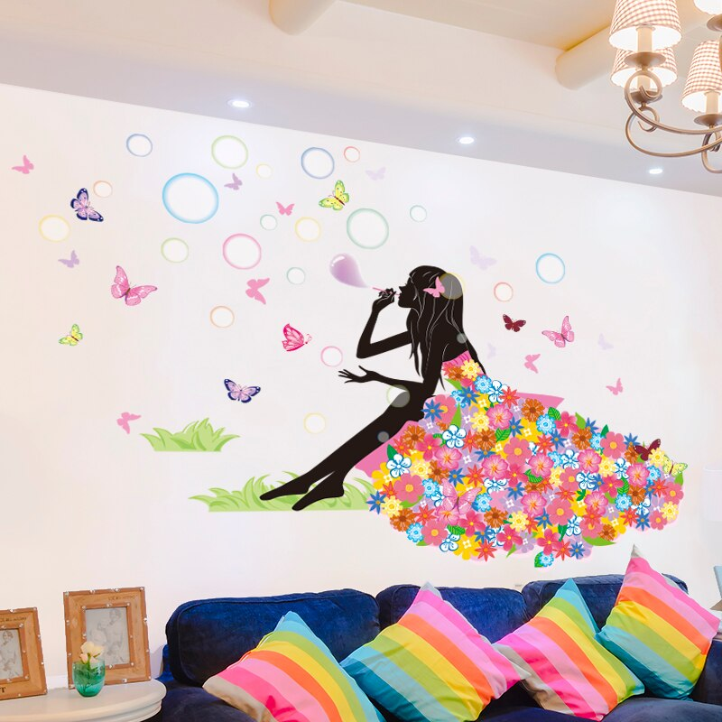 [SHIJUEHEZI] pegatina de dibujos animados para pared de niña, pegatinas de flores de soplado DIY, mural de mariposas, decoración del hogar para la sala de estar, la habitación de los niños
