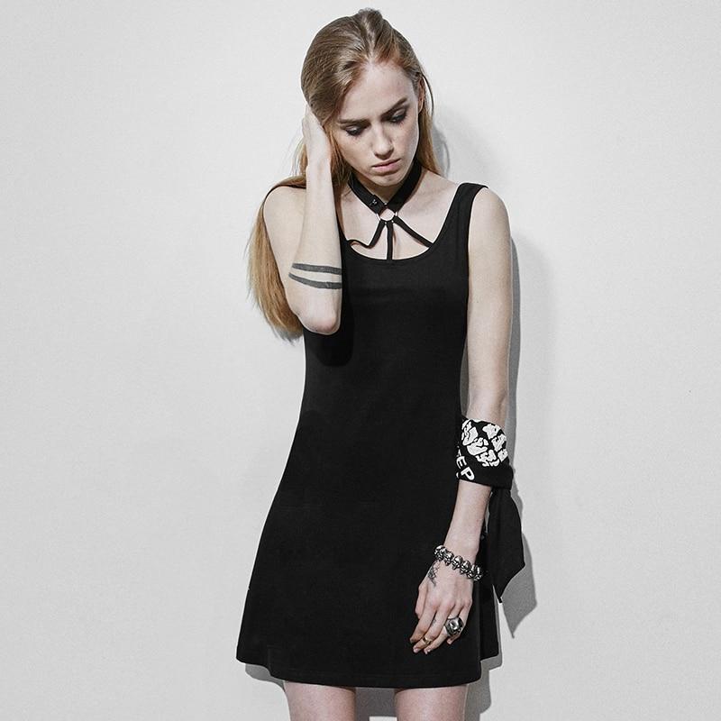 Punk Dark Lolita Bandage Backless Dress Summer Black Casual Sleeveless Short Dress
