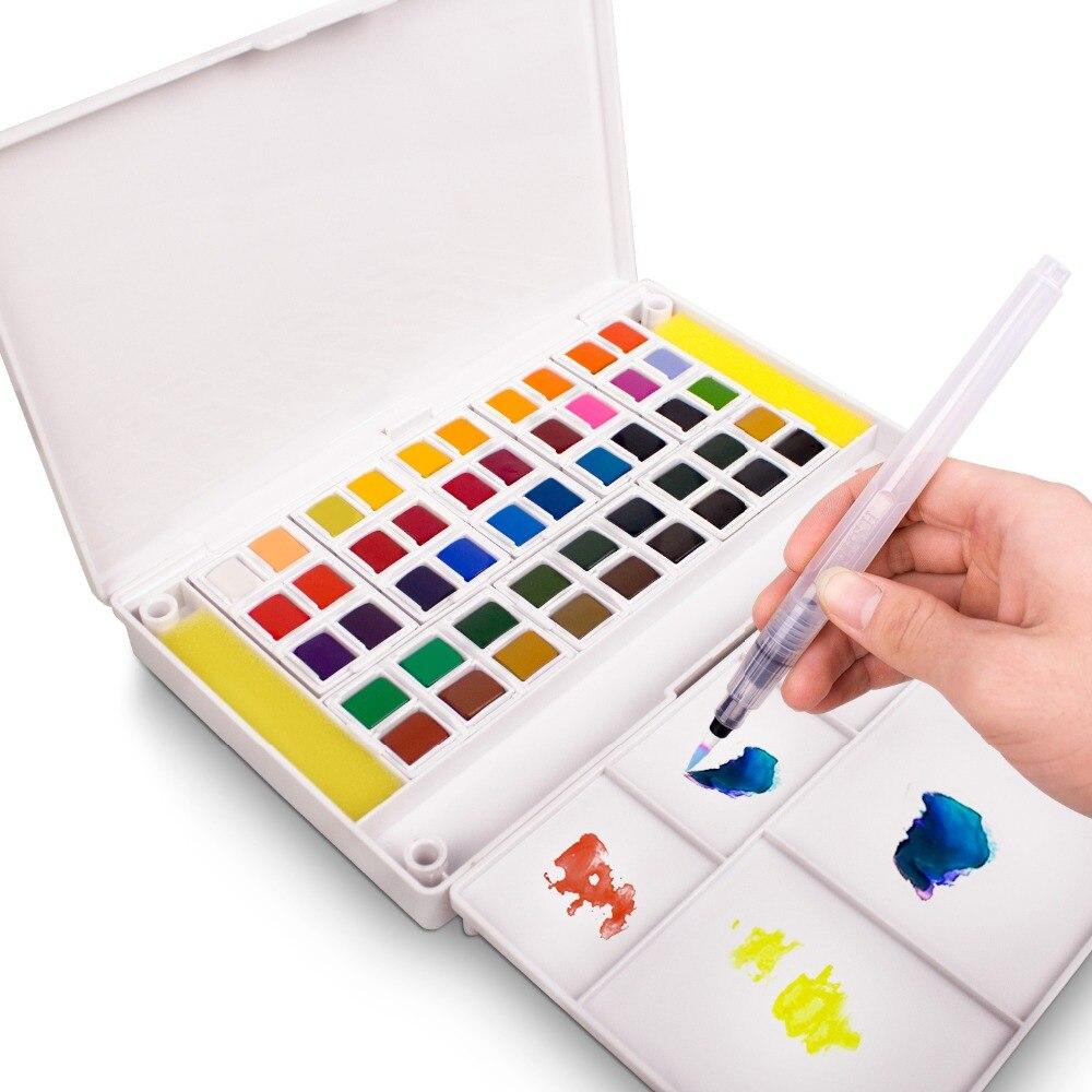 Set de pintura de acuarela tamaño de bolsillo-12/18/24/36 acuarela caja de pintura medio cacerolas pintura conjunto de pigmento