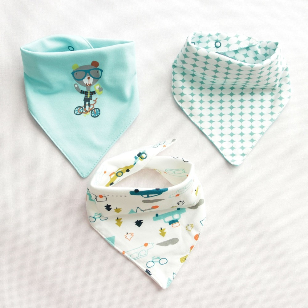 3pcs Baby Bibs Cute Cartoon Baby Scarf  Bib Slabbetjes 0-6 Year Burp Cloth Double Cotton Bibs Waterproof Unisex Newborn Bib