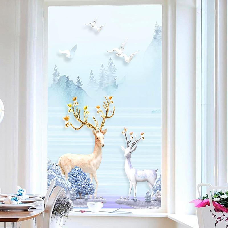 Película de ventana de cristal para el baño personalizada, pegatina de puerta corrediza de oscuón puerta, papel de ventana esmerilada electrostática, papel antiopaco transparente