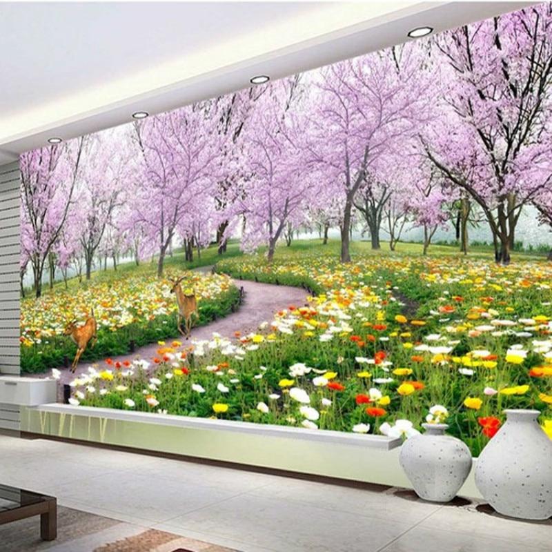 Papel pintado personalizado para sala de estar, Fondo de TV papel tapiz, 3D, paisaje Pastoral, sofá dormitorio, espacio extendido, camino de Sakura