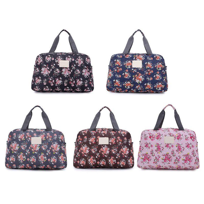 Women Men Storage Bag Travel Handbags Portable Luggage Floral Print Bag Waterproof Duffle Bags