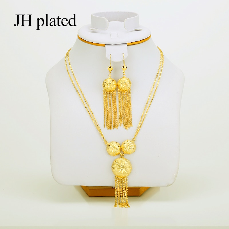 Jhplated etíope africano ouro cor conjuntos de jóias para brinco/colar/pingente para feminino masculino redondo