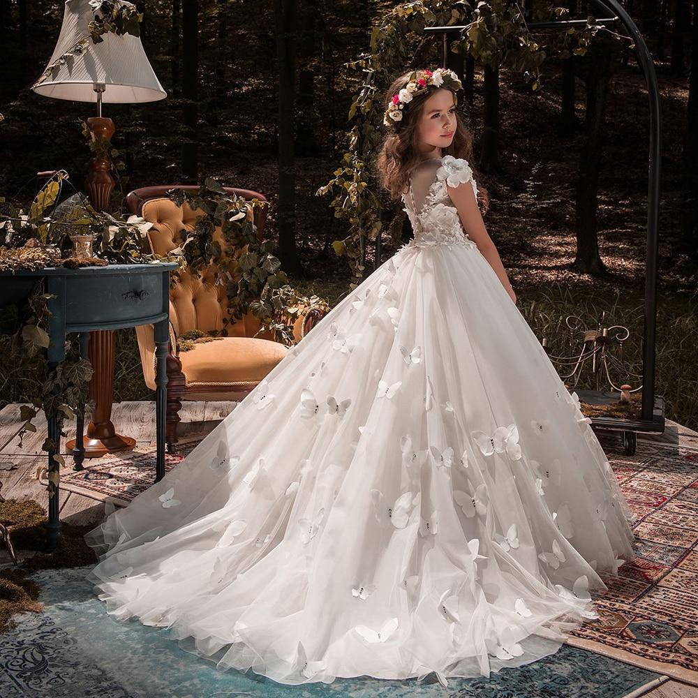Flower Girl Dresses Tulle 2021 Beading Appliqued Pageant Dresses For Girls First Communion Dresses Kids Prom Dresses