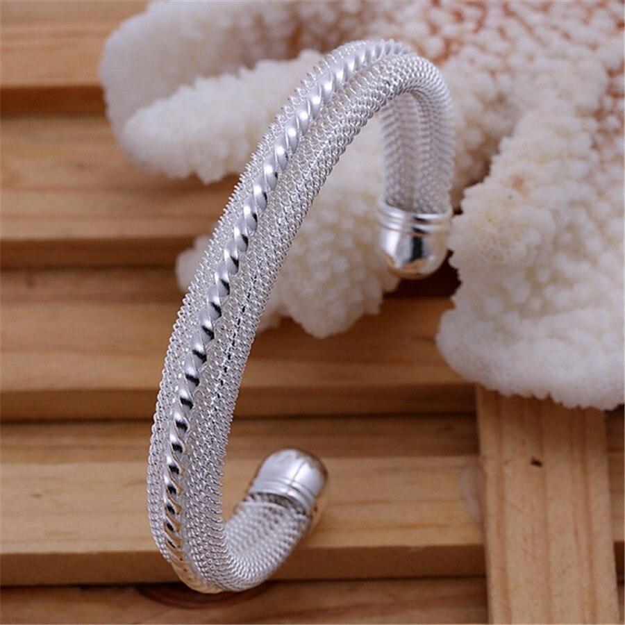 Para mujeres y hombres joyería de boda regalo de Navidad joyería de color plata moda simple mujer Clásico brazalete pulsera B021