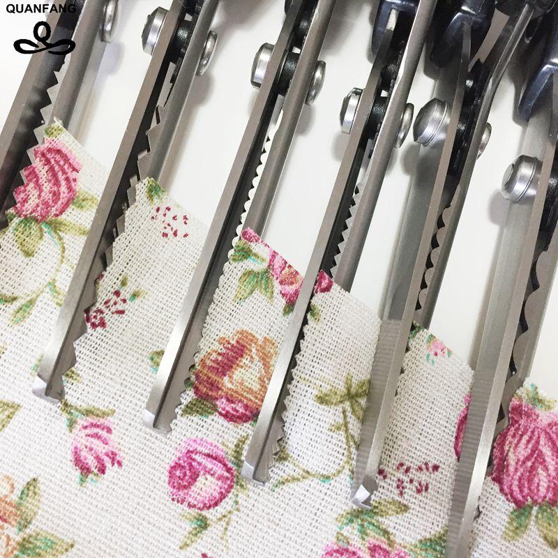¡Gran oferta 2017! tijeras de Pinking para confección de vestidos de acero inoxidable, tijeras de corte zigzag para tapicería de cuero Diy