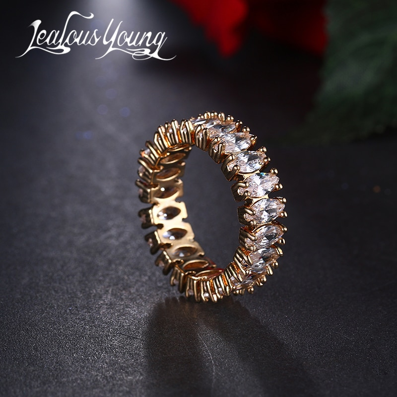 Anillo de compromiso de circonia cúbica de 6 colores a la moda para mujer, anillo de Color dorado de lujo CZ, anillos negros, joyería femenina, AR098