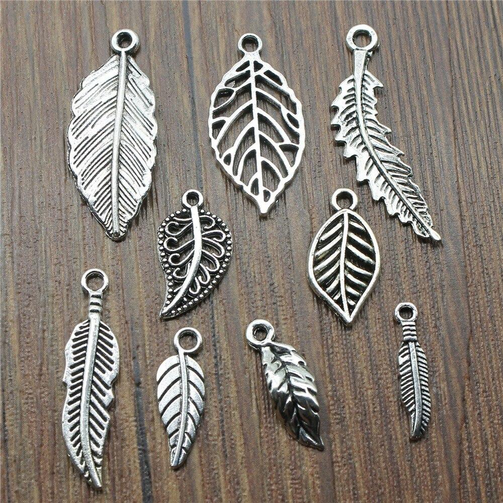 40 unids/lote de dijes de hoja de Color plata antiguo dijes de hoja de joyería DIY dijes de hoja de árbol al por mayor