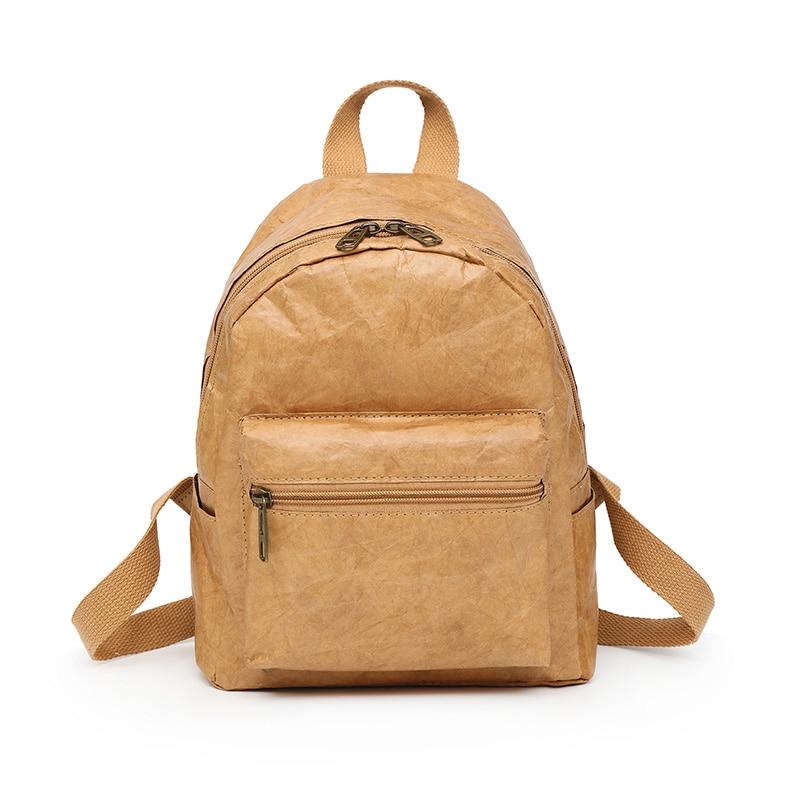 2018 New Fashion Women Men Backpack Shoulder Bag Foldable Waterproof School Bag Zipper Kraft Paper Durable Gift Mochila Hombre